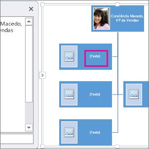 Organograma de imagens SmartArt com uma caixa realçada no organograma a mostrar onde pode introduzir texto