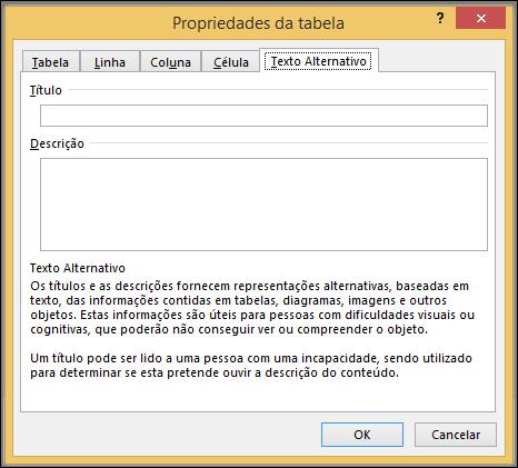 Separador texto alternativo na caixa de diálogo Propriedades da tabela