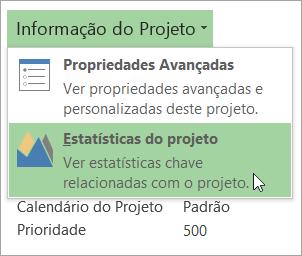 Opções de Informação do Projeto