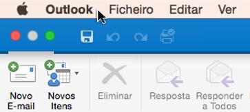 Para consultar a versão que tem do Outlook, selecione Outlook na sua barra de menus.