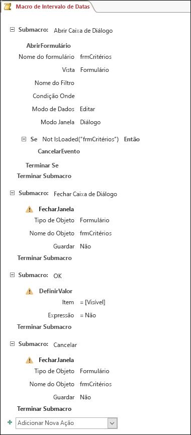Captura de ecrã de uma macro do Access com quatro submacros e ações.