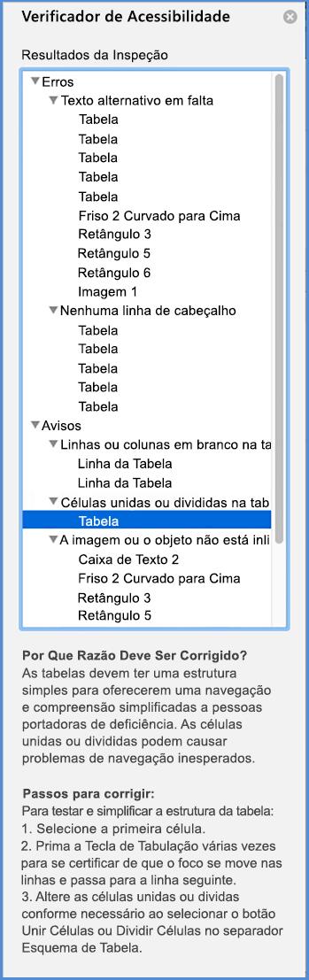 Captura de ecrã do menu do Verificador de Acessibilidade