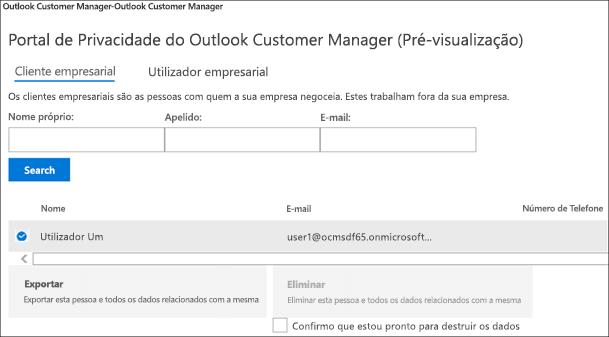 Captura de ecrã: Dados do cliente do Gestor de cliente do Outlook de exportação