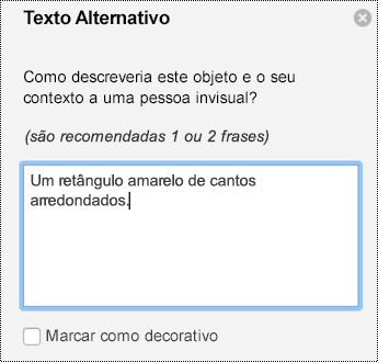 Painel texto alternativo para formas no PowerPoint para Mac no Office 365