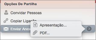 PPT para Mac: Opções de Partilha de E-mail