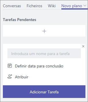 Captura de ecrã do separador Novo plano no Teams