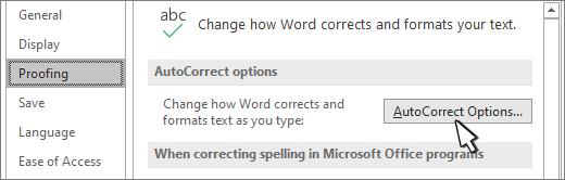 Botão Opções de correção automática na caixa de diálogo verificação linguística