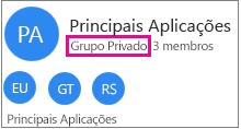 """Cartão de grupo de exemplo com """"grupo privado"""" realçado"""
