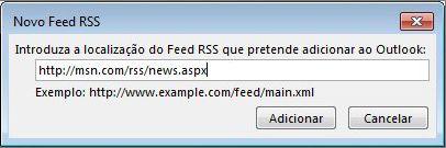 Introduzir o URL para o Feed RSS