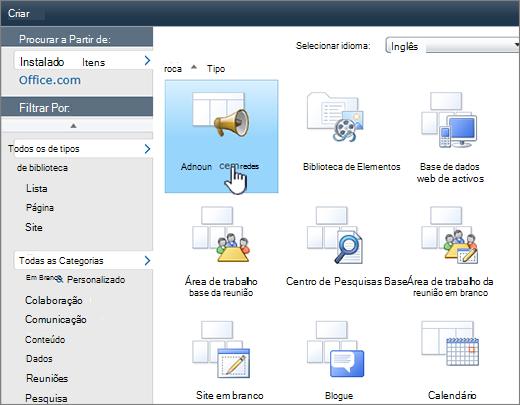 Página de lista ou biblioteca do SharePoint 2010-criar com anúncios realçada