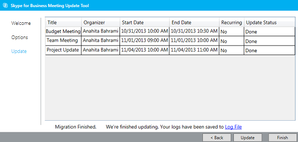 Captura de ecrã da ferramenta de migração de reuniões concluída