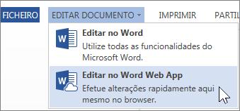 Opção de menu Editar no Word Web App