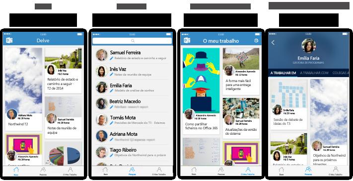 Quatro ecrãs com descrição de texto do Delve para iPhone