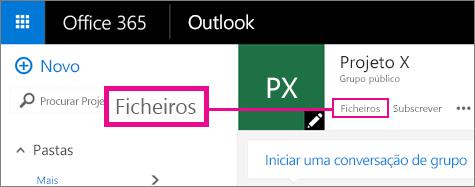 Captura de ecrã a mostrar a clicar em Ficheiros num Grupo para aceder ao OneDrive do grupo