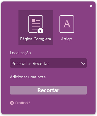 Captura de ecrã da caixa de diálogo Clipper do OneNote