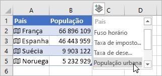 Segunda coluna de dados adicionada