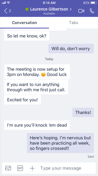Uma conversação num dispositivo móvel