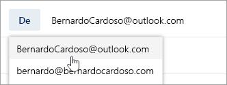 Uma captura de ecrã a mostrar o menu pendente do endereço De