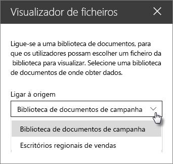 Painel de propriedades do Visualizador de ficheiros com o menu pendente ligar a origem