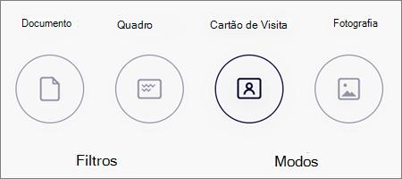 Opções de modo para digitalização de imagens no OneDrive para iOS