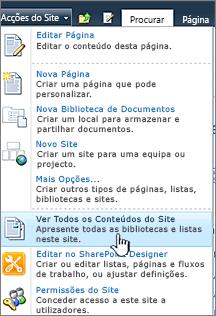 Ver todo o conteúdo de site no menu de ações do Site