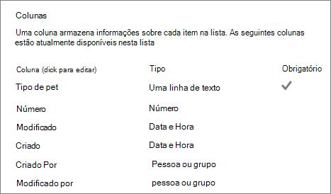 Secção de coluna de lista nas definições de lista
