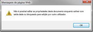 Mensagem a informar que o ficheiro está bloqueado por outra pessoa