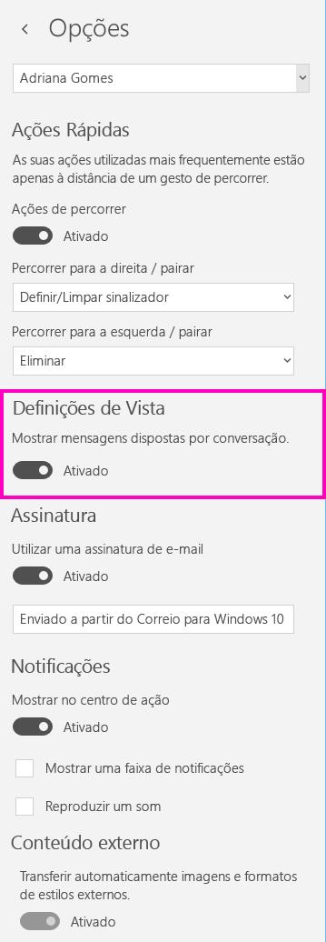 Desativar a vista de conversação na aplicação Correio no Windows 10