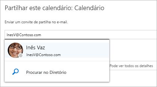 Uma captura de ecrã da caixa de diálogo Partilhar este calendário.
