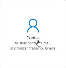 Nas Definições do Windows, aceda a Contas