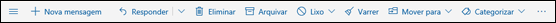 Barra de ferramentas de mensagens do Outlook.com