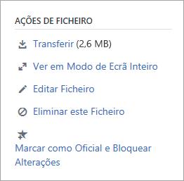 A secção ações de ficheiro