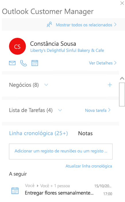 Ecrã de boas-vindas do Outlook Customer Manager