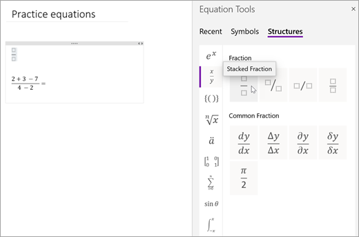 Selecione estruturas e, em seguida, selecione uma categoria para navegar nas estruturas matemáticas disponíveis.