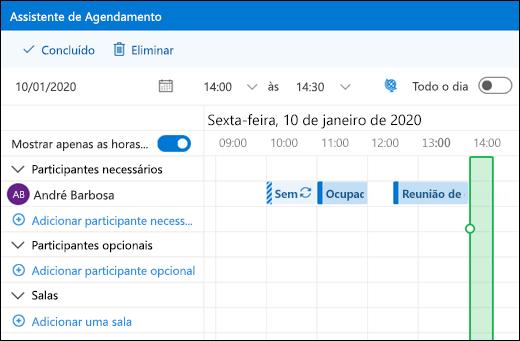 Assistente de Agendamento que mostra eventos de calendário combinados