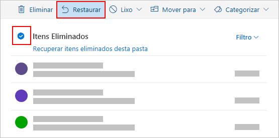 Caixa de diálogo eliminar Outlook.com