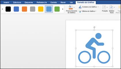 A galeria de estilos com um estilo azul claro aplicado a um gráfico de uma bicicleta