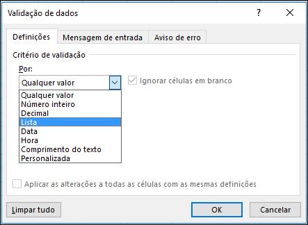 Separador Definições na caixa de diálogo Validação de Dados