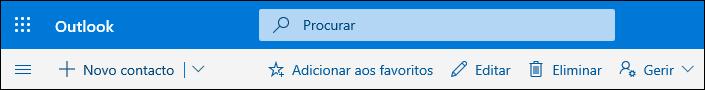 Uma captura de ecrã a mostrar as opções disponíveis na barra de comandos Pessoas, incluindo Novo contacto, Editar, Eliminar, Adicionar aos favoritos e Gerir.