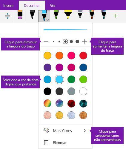 Opções de largura e a cor de traço no OneNote para Windows 10 a tinta