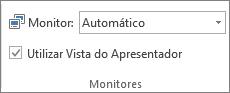 Grupo Monitores no separador Apresentação de Diapositivos