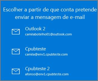 Escolha uma conta para enviar um e-mail