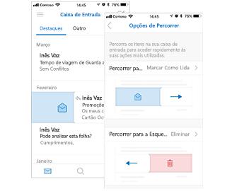 Caixa de Entrada com a ação de gesto de percorrer Marcar como Lida à esquerda e a caixa de diálogo Opções de Percorrer à direita