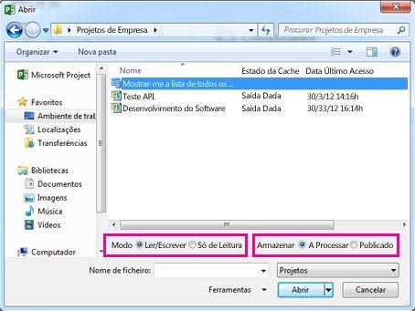 Abrir a caixa de diálogo que mostra os ficheiros do Project Web App