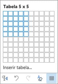 Grelha da tabela no Outlook na Web.