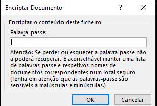 Caixa de diálogo Encriptar Documento