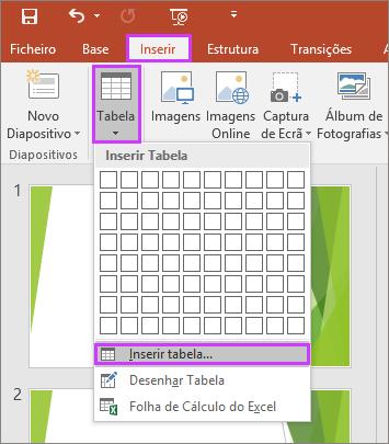 Mostra a opção Tabela no separador Inserir no friso no PowerPoint