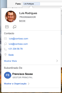 Cartão de contacto no calendário do Outlook