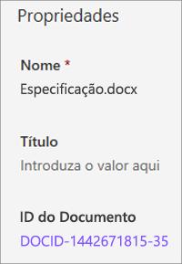 ID do documento mostrado no painel de detalhes