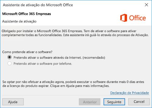 Mostra o Assistente de Ativação do Office 365 Empresas